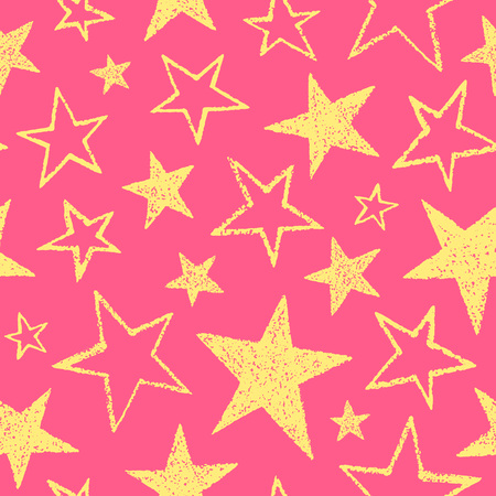 estrellas cinco puntas: Yellow stars seamless pattern. Rough texture, uneven edges. Brush drawn five-pointed stars of different size. Birthday, festive colorful background. Doodle style star shapes. Vectores