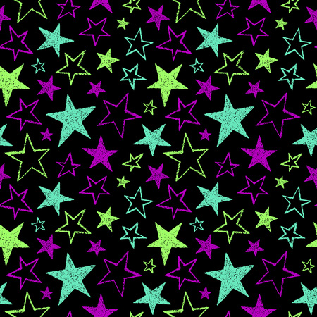 estrellas cinco puntas: Brush drawn five-pointed stars of different size seamless pattern. Bright neon colors. Rough texture, uneven edges.  abstract colorful background. Doodle style star shapes. Vectores