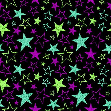 estrellas cinco puntas: Pincel dibuja estrellas de cinco puntas de diferente tamaño sin fisuras patrón. brillantes colores de neón. textura áspera, bordes irregulares. colores de fondo. formas de estrella de estilo de bosquejo. Vectores