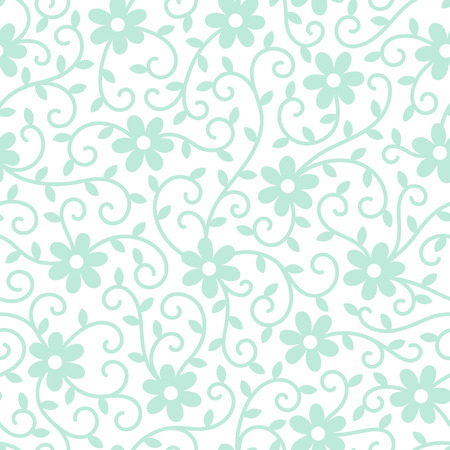 tendrils: Floral seamless pattern with chamomile flowers, tendrils and leaves. Mint green ornamentation on white background. Simple floral texture.
