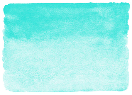 Mint green watercolor background. Watercolour texture with stains. Painted horizontal gradient background. Rough, uneven edges.