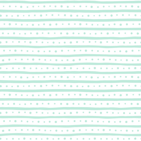 uneven edge: Uneven bars and dots seamless pattern. Free hand drawn stripes and round spots background. Abstract striped texture. White and mint green. Illustration