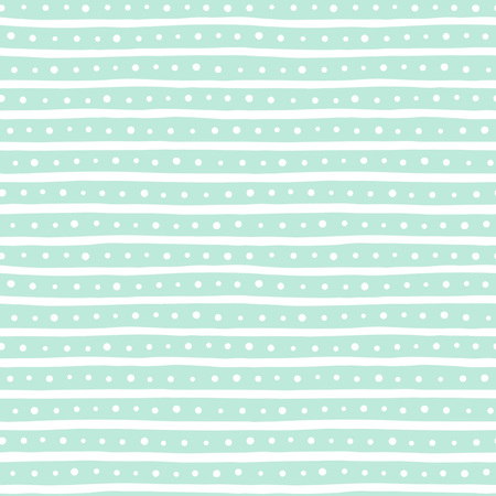 spot the difference: Uneven bars and dots seamless pattern. Free hand drawn stripes and round spots background. Abstract striped texture. White and mint green. Illustration