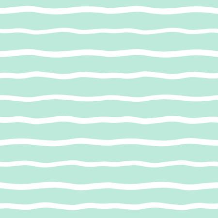 Breite gewellte Streifen nahtlose Hintergrund. Hand unebene Wellen-Muster gezeichnet. Gestreifte abstrakte Vorlage. Nette wellenförmigen Streifen Textur. Weiße Balken auf mintgrün Hintergrund. Vektorgrafik