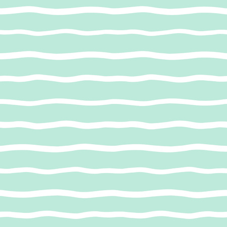 Wide wavy stripes seamless background. Hand drawn uneven waves pattern. Striped abstract template. Cute wavy streaks texture. White bars on mint green backdrop.