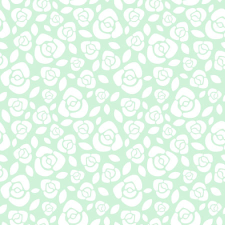 background flower: Simple roses floral seamless pattern. Flat design roses with leaves texture. White and mint green floral background. Illustration