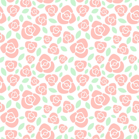 soft colors: Simple roses floral seamless pattern. Flat design red roses with leaves texture. Soft pastel colors.