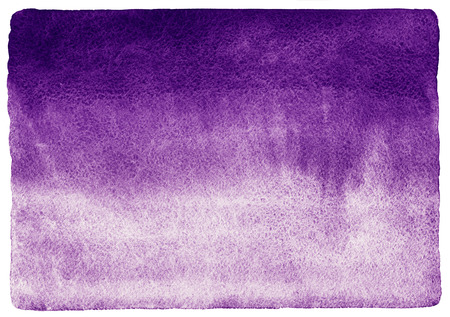 rounded edges: Blueberry or dark violet watercolor background. Watercolour texture with stains. Painted horizontal gradient background. Rough, uneven edges and rounded corners. Stock Photo
