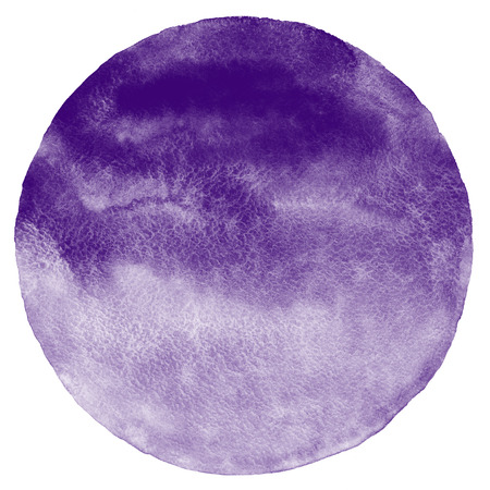 violet: Blueberry or dark violet watercolor circle isolated on white. Round background with space for text. Watercolour stains abstract texture. Stock Photo