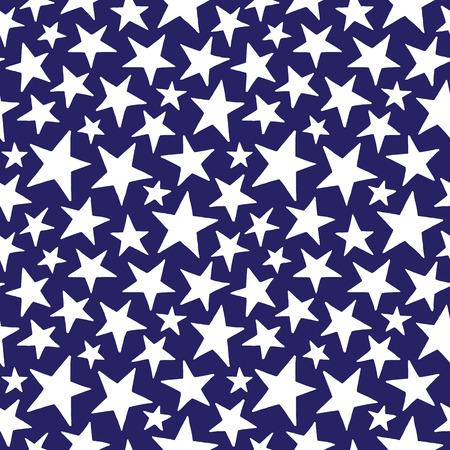 estrellas cinco puntas: Doodle estilo de estrellas de diferente tamaño sin fisuras patrón de cinco puntas. cósmica simple, el fondo del espacio. mano libre dibuja formas de estrella. textura cósmica.