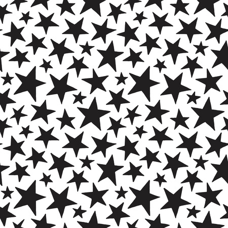 star pattern: Doodle style stars of different size seamless pattern. Black and white cosmic, space background. Free hand drawn star shapes. Simple cosmical monochrome texture.