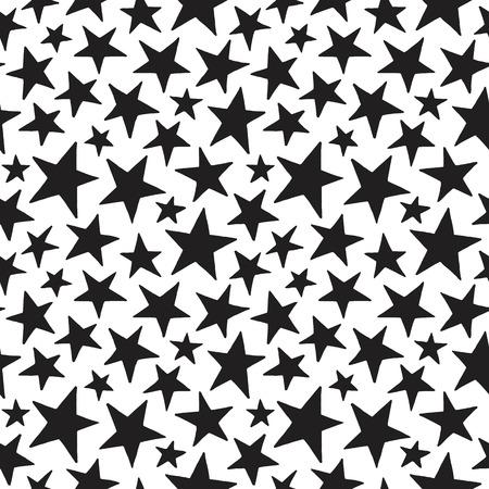 stelle in stile Doodle di diverse dimensioni senza soluzione di modello. In bianco e nero cosmico, spazio sfondo. mano libera disegnato forme stella. Semplice struttura in bianco e nero cosmico. Vettoriali