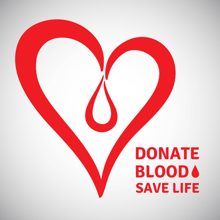 Blood donation illustration. Stylized heart with drop and typographic composition. World blood donor day symbol. Donate blood motivation words.