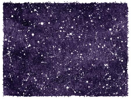 kosmos: Dunkelviolett oder Blaubeere Hand gezeichnet Aquarell Nachthimmel mit Sternen. Cosmic, Raum Hintergrund. Raue, unebene Kanten. Splash Textur. Galaxy, Kosmos Illustration.