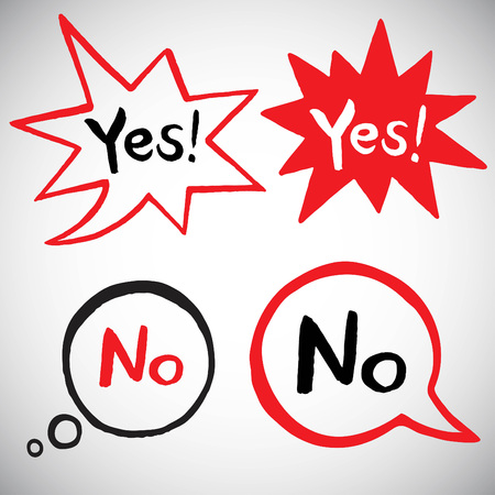 Yes and no illustration with various  speech bubbles. Doodle style speech bubbles with lettering. Exclamation, talking, thinking bubbles with uneven edges. Illustration