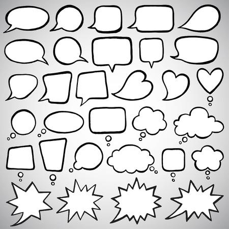 marcos redondos: Colección de burbujas de discurso de estilo dibujo. Hablando, hablando, hablando, gritando, riendo, gritando, pensando, soñando, meditando burbujas. Tinta dibuja formas con bordes irregulares.