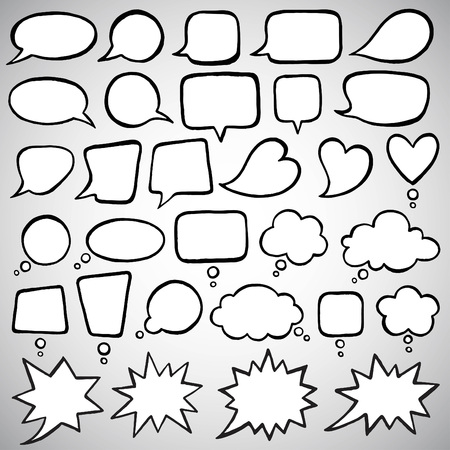 exclaim: Collection of doodle style speech bubbles. Talking, speaking, chatting, screaming, laughing, exclaiming, thinking, dreaming, meditating bubbles. Ink drawn shapes with uneven edges. Illustration