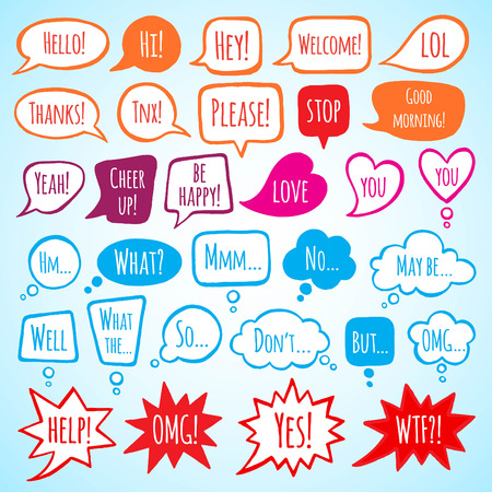 Collection of doodle style speech bubbles with lettering. Thank you, help, welcome, yes, no, stop words. Talking, speaking, screaming, thinking, dreaming bubbles. Colorful shapes with uneven edges.