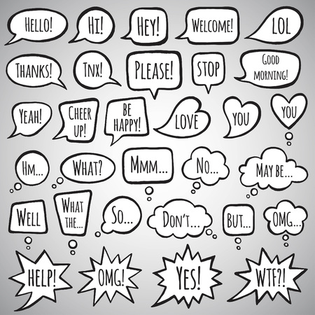 no edges: Collection of doodle style speech bubbles with lettering. Thank you, help, welcome, yes, no, stop words. Talking, speaking, screaming, thinking, dreaming bubbles. Ink drawn shapes with uneven edges.
