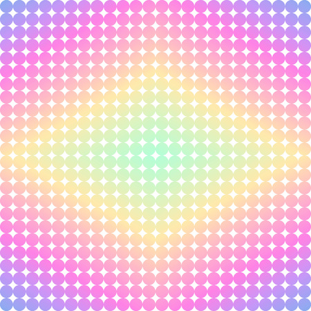 rhombic: Bright retro 80s or 90s geometric style background. Holographic rhombic texture made of tiny circles. Gradient colorful vintage template for design. Can be used as seamless pattern. Illustration
