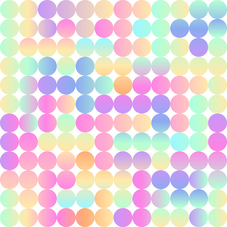 holographic: Bright circles seamless pattern. Retro vintage holographic gradient imitation. Hipster modern background. Simple geometric colorful texture. Illustration