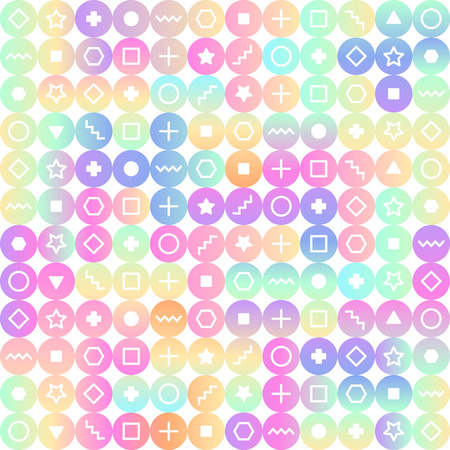 stars and symbols: Bright circles with various symbols seamless pattern. Hipster modern background. Stars, circles, squares, memphis style geometric background. Holographic gradient imitation.
