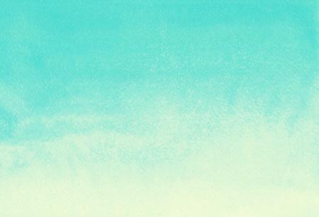 수채화 그라데이션 추상적 인 배경입니다. 민트 녹색과 노란색 페인트 템플릿입니다. 여름 휴가 배경. 수직 그라데이션 채우기. 손 수채화 질감을 그려