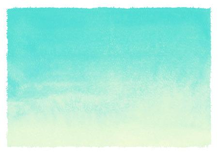 거칠고 고르지 가장자리 수채화 그라데이션 추상적 인 배경. 민트 녹색과 노란색 페인트 템플릿입니다. 여름, 휴가 배경. 수직 그라데이션 채우기. 손