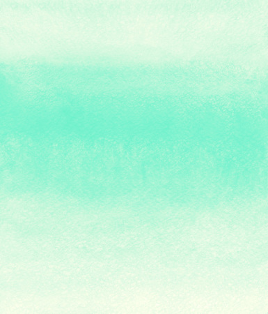 Mint green striped watercolor background. Painted gradient template. Watercolour texture with stains and streaks.