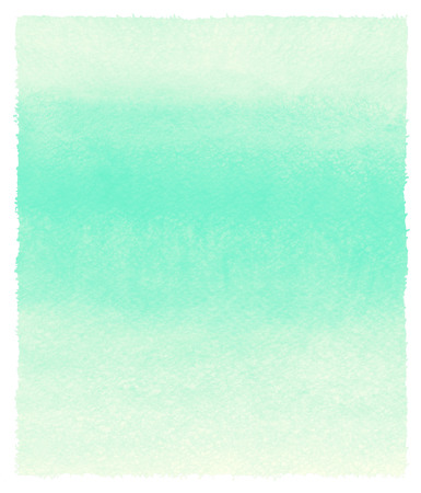 green background texture: Mint green striped watercolor background. Painted gradient template with rough, uneven edges. Watercolour texture with stains and streaks. Stock Photo