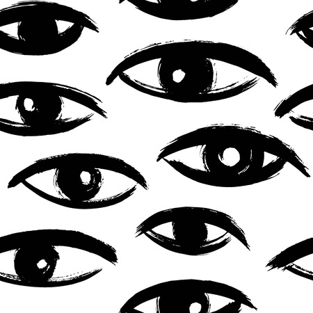Brush drawn eyes seamless vector pattern. Rough edges. Hand drawn surreal background. Stylized hand drawn uneven eyes, eyeballs texture. Ink illustration.