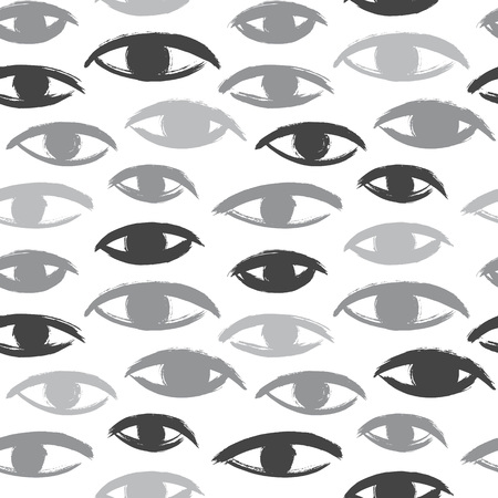 uneven edge: Brush drawn eyes seamless vector pattern. Rough edges. Hand drawn surreal background. Stylized hand drawn uneven eyes, eyeballs texture. Ink illustration.