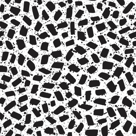 inlay: Mosaic or inlay seamless vector pattern with specks, spots, blobs, splashes texture. Tiny polygon pieces with uneven dots of different size texture. Abstract monochrome background.