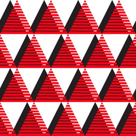 offset: Triangles seamless vector pattern. Geometric white, red and black abstract background. Triangles with offset and uneven stripes, streaks, bars texture.