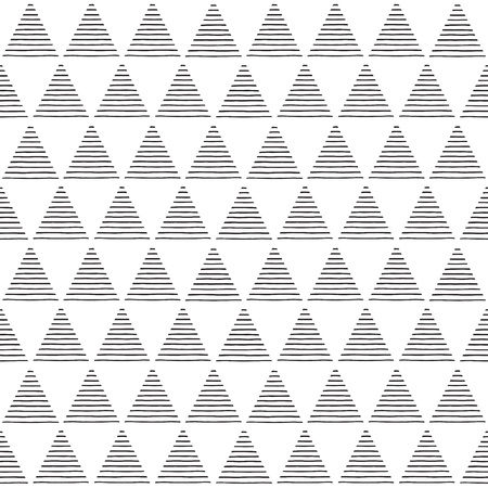 white bars: Monochrome striped triangles seamless vector pattern. Geometric simple abstract background. Black and white triangles with uneven stripes, streaks, bars texture.