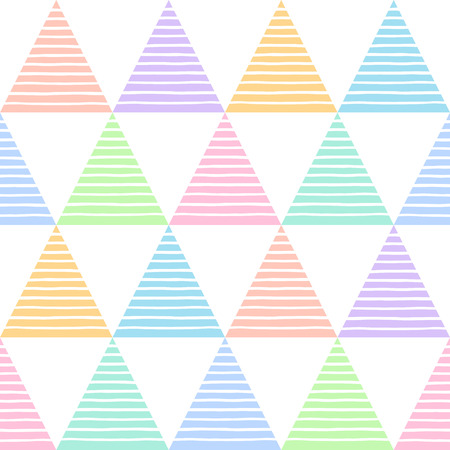 Multicolor striped triangles seamless vector pattern. Geometric colorful abstract background. Triangles with uneven stripes, streaks, bars texture.