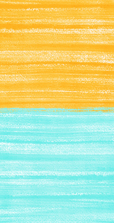 Two colored painted background. Sky blue and orange. Bright hand drawn template with brush strokes, streaks or stripes. Rough paper texture. 版權商用圖片