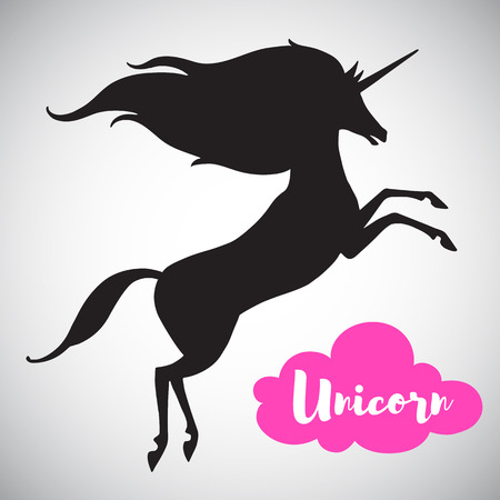 mythical: Unicorn vector silhouette with long mane. Simple, stylized prancing unicorn fairytale illustration. Mythical, fantasy, magic creature shape. Can be used as a background for lettering.