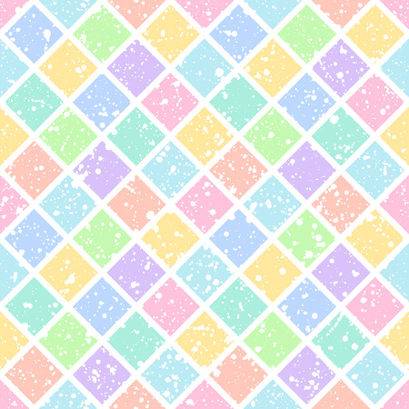 rhombic: Colorful rhombus or squares with white splash or blobs texture seamless vector pattern. Geometric multicolor abstract background. Squares or rhombic ornament with uneven spots, specks, blots texture. Illustration