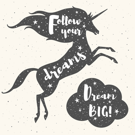 stargaze: Prancing unicorn silhouette, cloud and inspiration motivation quotes. Follow your dreams. Dream big lettering. Night sky, stars texture. Motivational inspiring illustration for retro cards, posters.