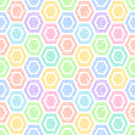 sputter: Colorful hexagons with white splash or blobs texture seamless vector pattern. Geometric multicolor abstract background. Polygons with uneven spots, specks, blots texture.