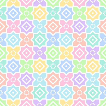 ornamentation: Oriental, arabic, islamic seamless vector pattern. Geometrical simple abstract background. Colorful tile or mosaic ornamentation. Illustration