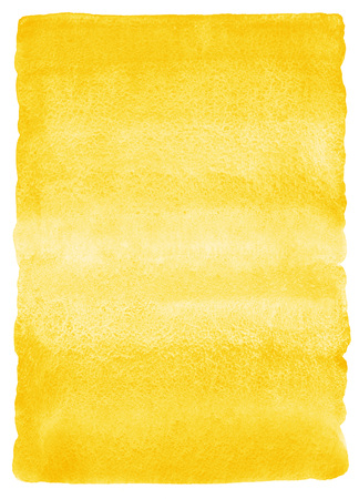 watercolor brush: Yellow or amber watercolor vertical gradient fill with rough, uneven edges. Watercolour stains background. Abstract painted template with paper texture.
