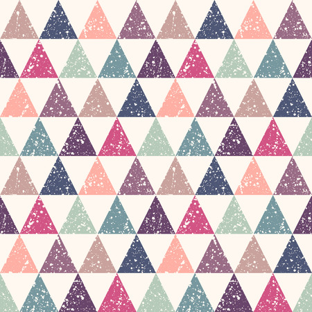 sputter: Colorful retro triangles with white splash or blobs texture seamless pattern.