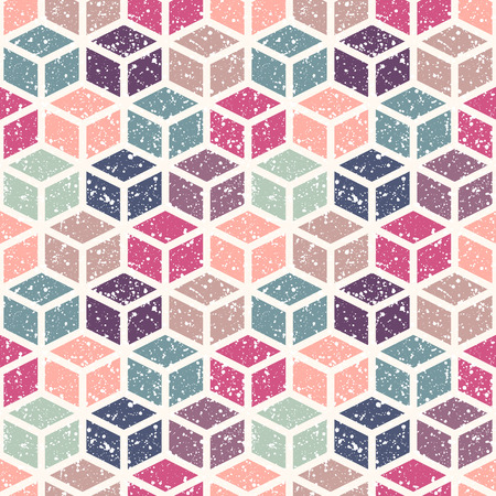 retro backgrounds: Colorful 3d cubes with white splash or blobs texture seamless pattern.