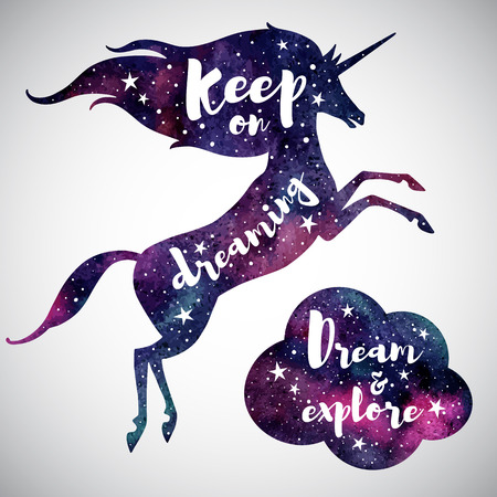 stargaze: Watercolor prancing unicorn silhouette, cloud and inspiration motivation quotes. Keep on dreaming. Dream and explore. Watercolour night sky, stars. Illustration for cards, posters.