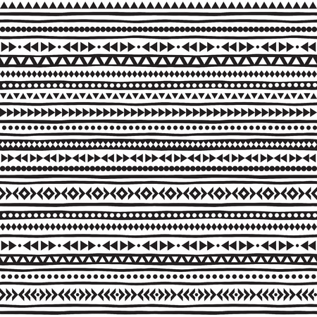Black and white geometric seamless pattern. Striped boho texture. Ethnic or tribal monochrome background with tiny triangles, uneven stripes and dots.