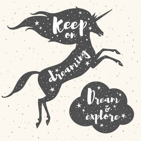 inspiring: Prancing unicorn silhouette, cloud and inspiration motivation quotes. Keep on dreaming. Dream and explore lettering. Night sky, stars texture. Optimistic illustration for retro cards, posters.