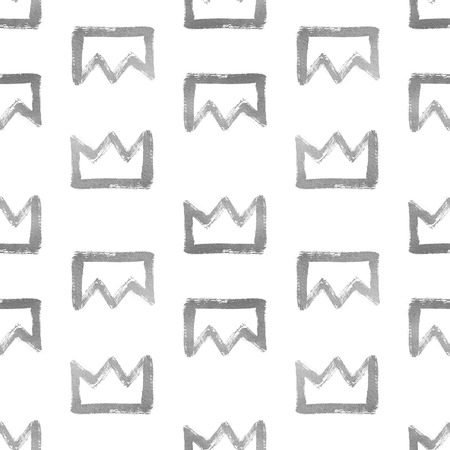 iron and steel: Brush drawn shining silver crowns isolated on white. Seamless pattern. Rough, uneven edges, doodle style. Iron or steel texture corona illustration. Abstract background.
