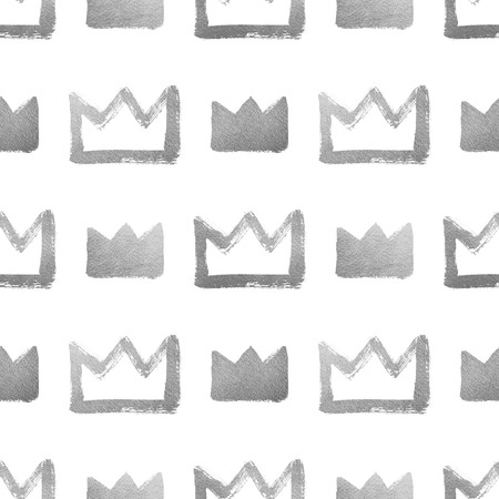 argent: Brush drawn shining silver crowns isolated on white. Seamless pattern. Rough, uneven edges, doodle style. Stock Photo
